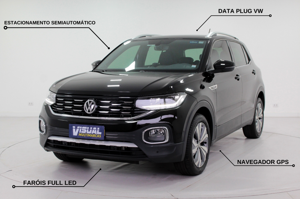 VOLKSWAGEN T-CROSS 1.4 250 TSI HIGHLINE BEATS FLEX AUTOMÁTICO 6M - 2020 - PRETO